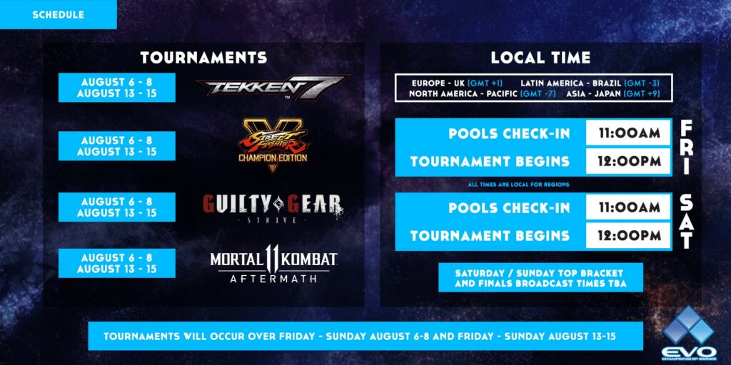 Times and dates of featured tournaments in Evo 2021 Online