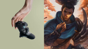 Hand dropping PlayStation console and official Yasuo art