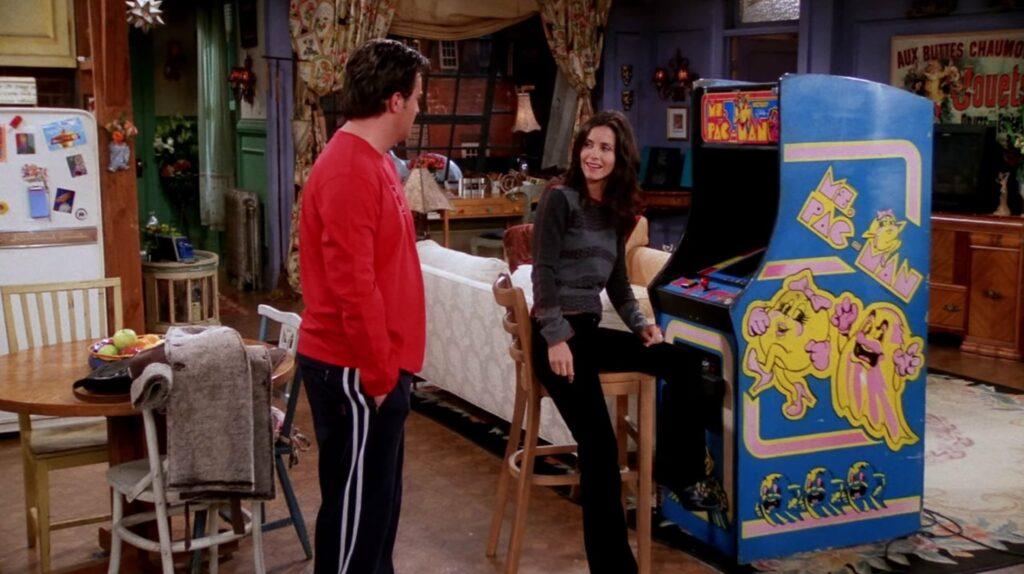Friends TV show, Ms. Pac-Man machine, Chandler, Monica