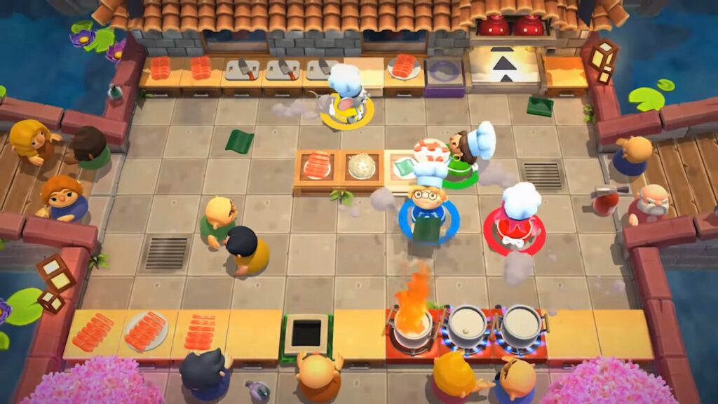 4 players playing in Overcooked! 2