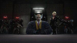 Heihachi sitting as the Mishima Zaibatsu boss in Tekken 7