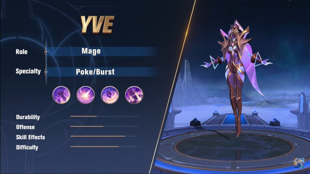 Role, speciality and stats of Mobile Legends: Bang Bang mage hero, Yve