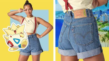 Levi's, Pokemon, Misty shorts front and back